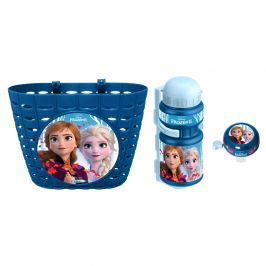 Frozen Cyklistická sada Frozen II (košík, láhev, zvonek) - modrá