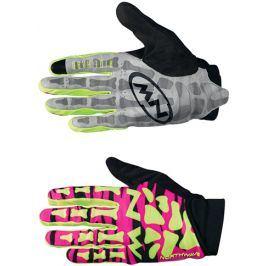 Dlouhoprsté cyklistické rukavice Northwave Skeleton Original růžovo-žluté