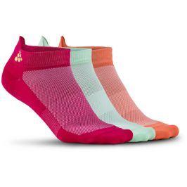 Ponožky Craft Shaftless 3-pack růžovo-zeleno-oranžové