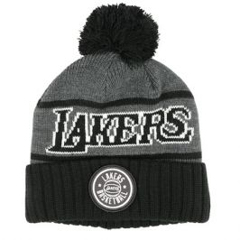 Zimní čepice Mitchell & Ness Reflective Patch Knit NBA Los Angeles Lakers Black