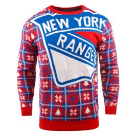 Vánoční svetr Forever Collectibles Busy Block Ugly NHL New York Rangers