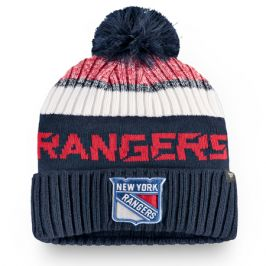 Čepice Fanatics Authentic Pro Rinkside Goalie Beanie Pom Knit NHL New York Rangers