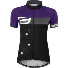 Dámský cyklistický dres s krátkým rukávem Force Square černo-fialový