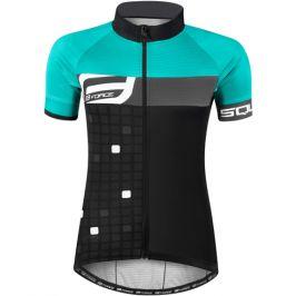 Dámský cyklistický dres s krátkým rukávem Force Square černo-tyrkysový