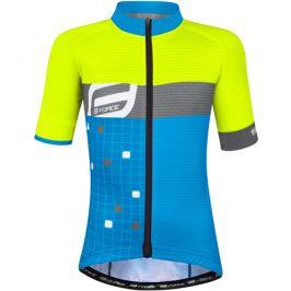 Dětský cyklistický dres Force Kid Square žluto-modrý