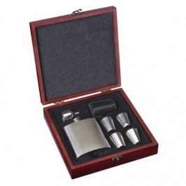 Nerezová placatka - likérka v setu s příslušenstvím - 170 ml
