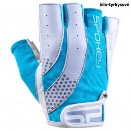 Fitness rukavice SPOKEY Zoe II bílo-tyrkysové - vel. L