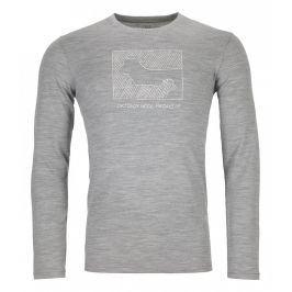 Pánské triko Ortovox 185 Merino Contrast Ls M Velikost: L / Barva: šedá