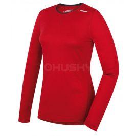 Dámské funkční triko Husky Merino dl.rukáv Velikost: XL / Barva: červená