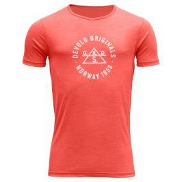 Pánské triko Devold Original Man Tee Velikost: L / Barva: korálová