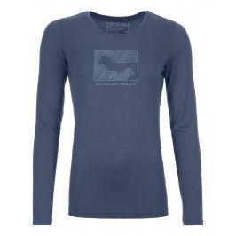 Dámské triko Ortovox 185 Merino Contrast Ls W Velikost: S / Barva: modrá