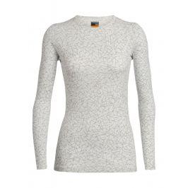 Dámské triko Icebreaker Women's 200 Oasis LS Crewe Sky Paths Velikost: M / Barva: bílá