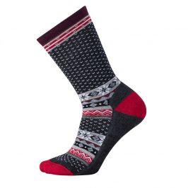Dámské ponožky Smartwool W Cozy Cabin Crew Velikost ponožek: 34-37 / Barva: šedá/červená