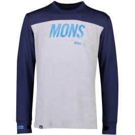 Mons Royale Pánské funkční triko Mons Royal Yotei Tech LS Velikost: XL / Barva: šedá/modrá