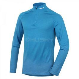 Pánské funkční triko Husky Merino zip, dl.rukáv Velikost: XL / Barva: modrá