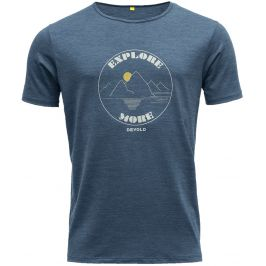Pánské triko Devold Explore More Man Tee Velikost: M / Barva: modrá