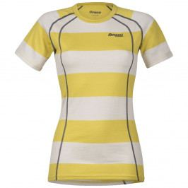 Bergans Merino Fjellrapp Lady Tee Yellowgreen/White Striped S
