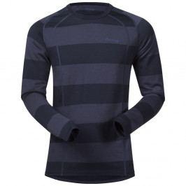 Bergans Merino Fjellrapp Shirt Dk Navy/NightBlue Striped L